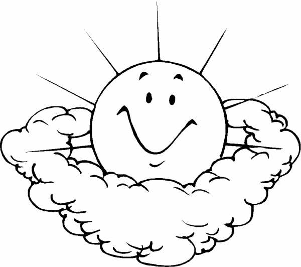 Photo: Sun And Clouds | Earth day coloring pages album ...
