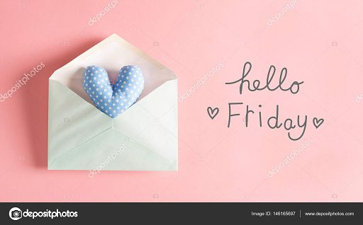 Hello Friday message with a blue heart cushion