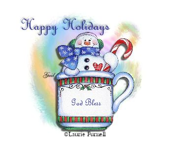 God Bless-gailz1208-LaurieFurnell Snowman In Mug SLH