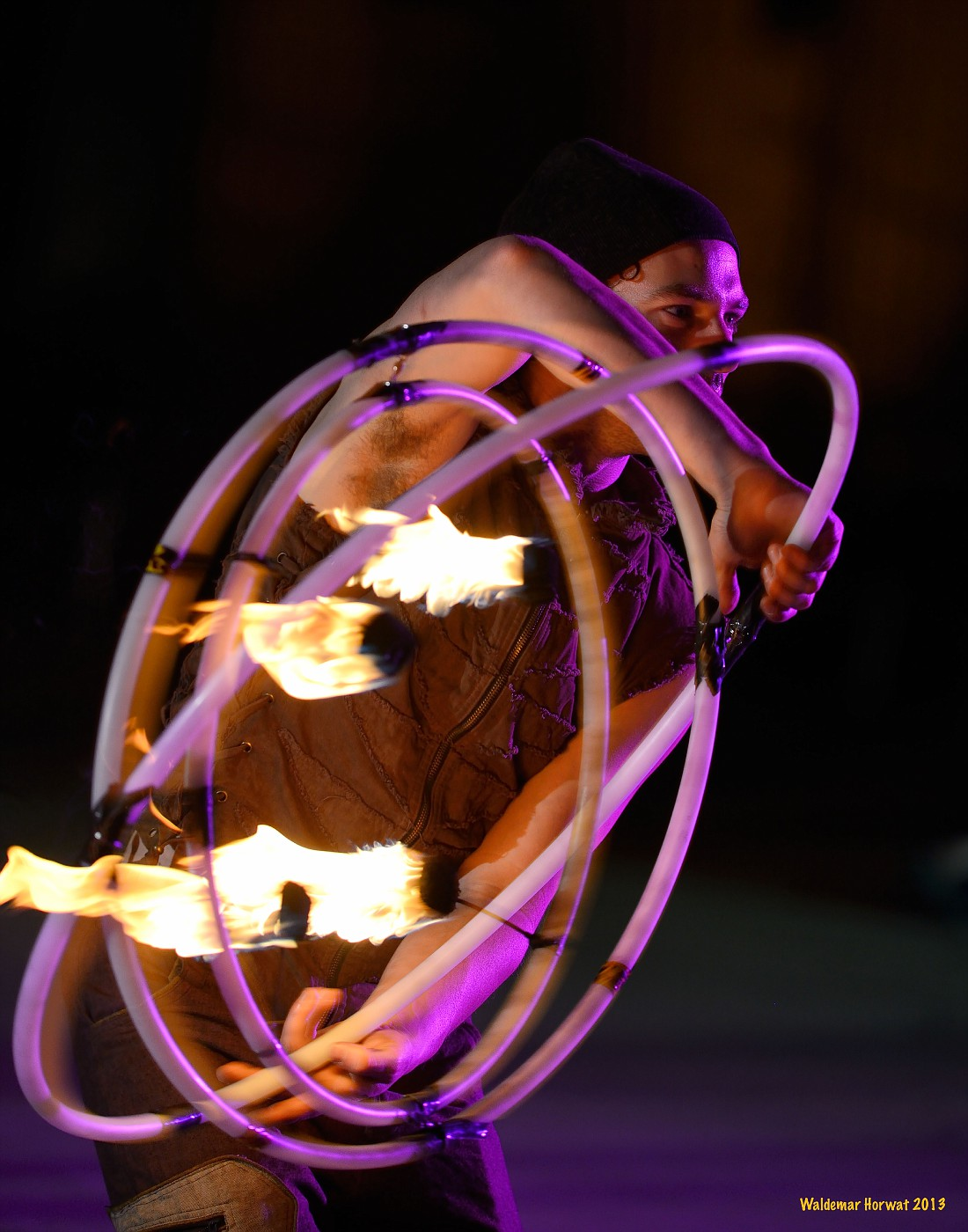 Spinning Fire Gyro Hoop