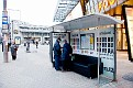 Tele2 have set a sofa at a bus stop as a part of a new advertising campaign. (front view)