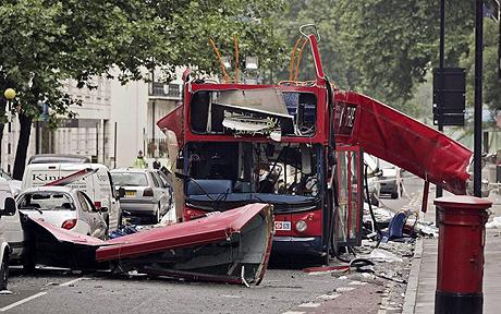 Photo of the bus destroyed in a terrorist bomb explosion 07 July 2005 in Woburn Place, London Photo: EPA