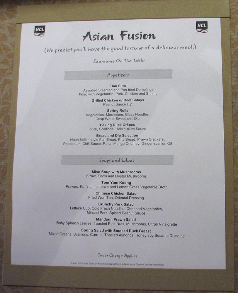 Menu - Orchid Garden - Asian Fushion