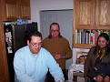 Hector, Mike and Veronica, Jeff hiding at lower right -- this is just moments before Veronica started dumping gallons of tobasco sauce into the okra pickles, at which point David showed up and turned bright red to prove a point...