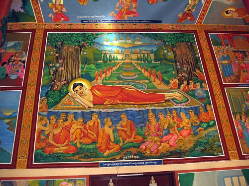 Buddhist Temple wall, reclining Buddha [death scene]
