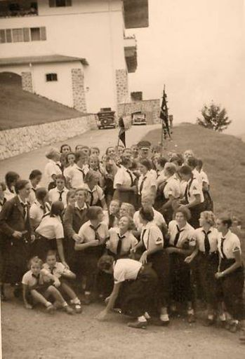 """BDM girls with Adolf Hitler at """"The Eagles Nest"""""""