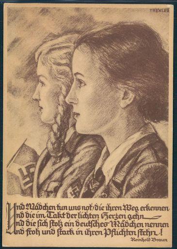BDM girls in profile propaganda poster Reinhold Braun