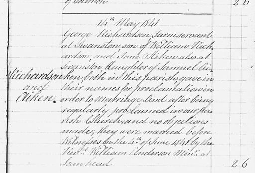 George Richardson and Jane Aitken marriage