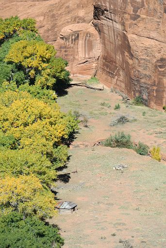 Navajo hogan at the bottom of the canyon