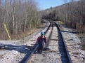 Grisha at the railroad tracks