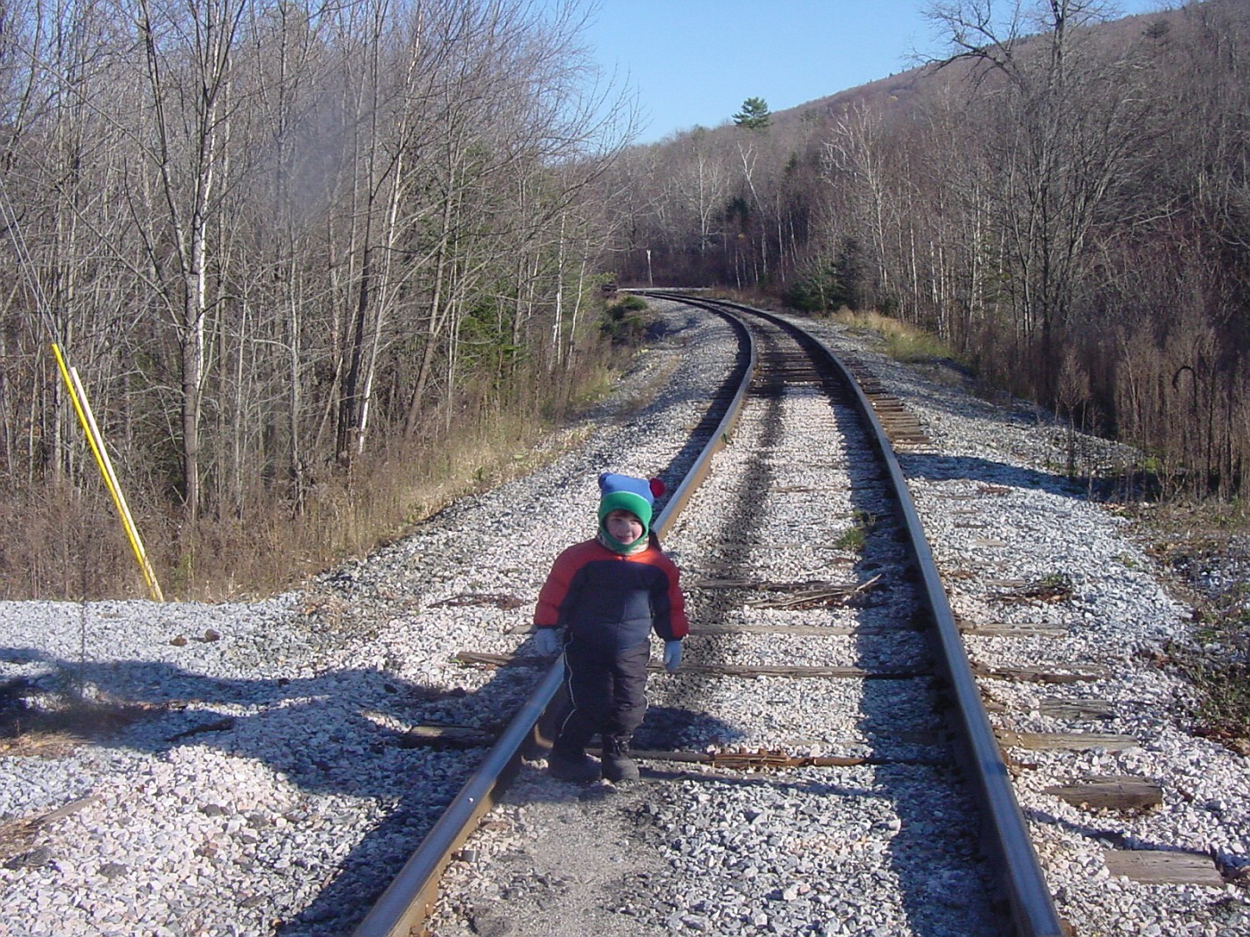 Grisha at the railroad tracks