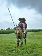 Don Quijote und sein Pferd Rosinante sind bereit zum Kampf