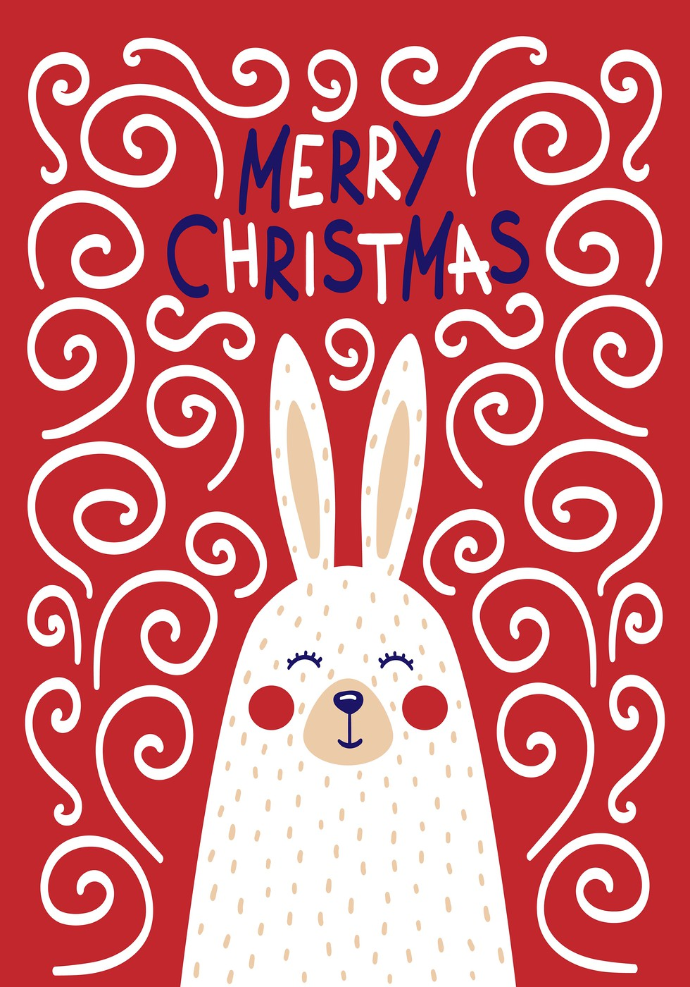 Cute Christmas cards with a picture of a rabbit in a Scandinavian style