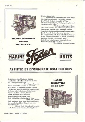 marine boat oil engines & generators 1954