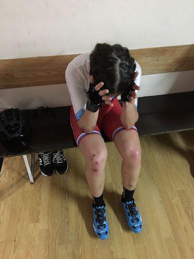Касенова Карина после гонки и после падения