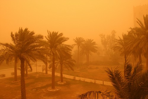View from convention center towards red zone during sandstorm.