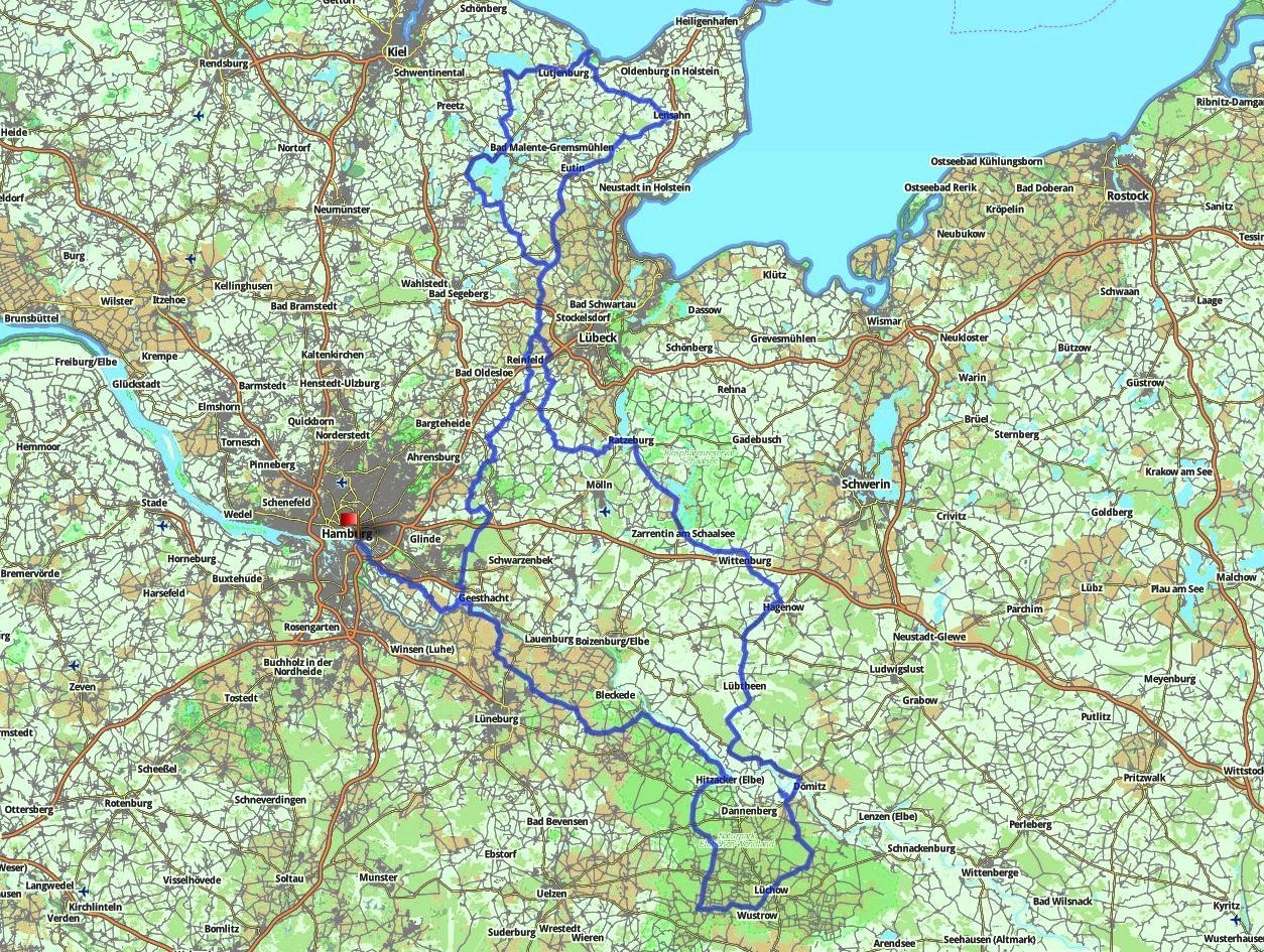 Route 600km Brevet Hamburg/HoheWacht