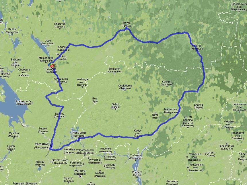 "Route of the brevet ""White Nights"""