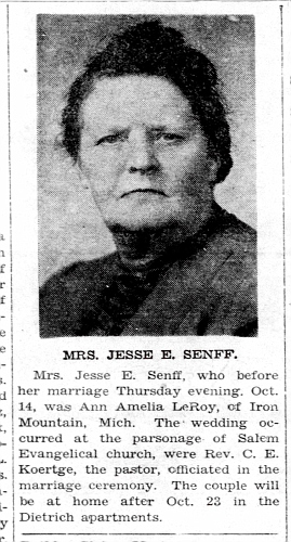 Ann Amelia [Strandell] LeRoy marries Jesse Senff - Enquirer Thu Oct 21 1943