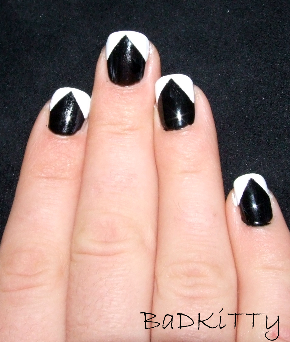 Black Nails with White Tips