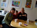 Sept. 4-09 / Friday 12:44 PM.  Having Coffee in the Fotki Office Cafeteria with the kids while Katrin and Dmitri are doing some Fotki Work...