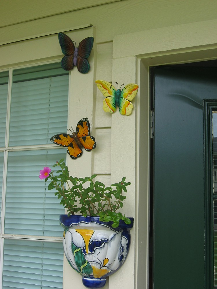 Michael gave me this planter and the butterflies - there are more butterflies on the other side