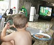 too busy watching the cartoon